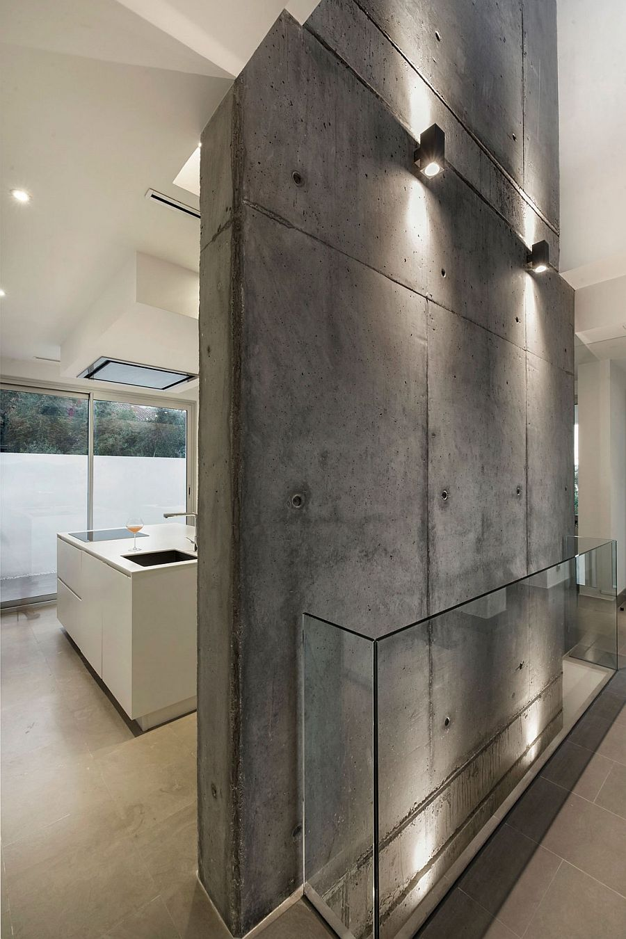 Raw concrete becomes an important part of the home's design