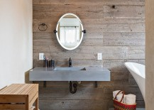 Reclaimed timber offers a less expensive and sustainable alternative to wood in the bathroom