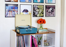 Record frame photo wall from A Beautiful Mess 217x155 20 Creative Ways to Display Photos
