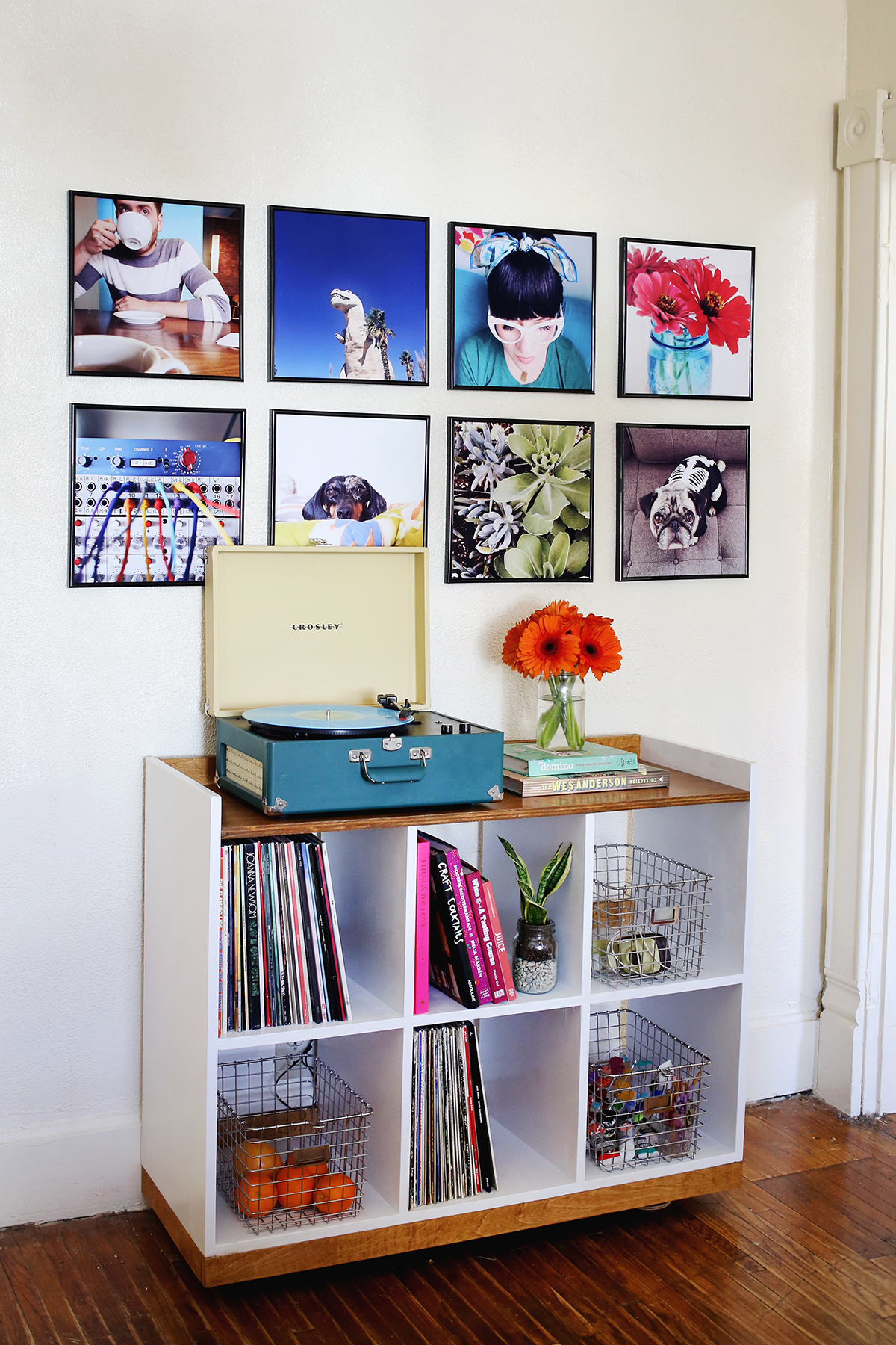 Record frame photo wall from A Beautiful Mess