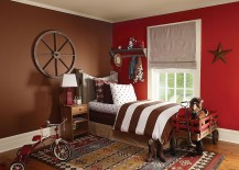 Red works well with almost any color in the kids room when used right