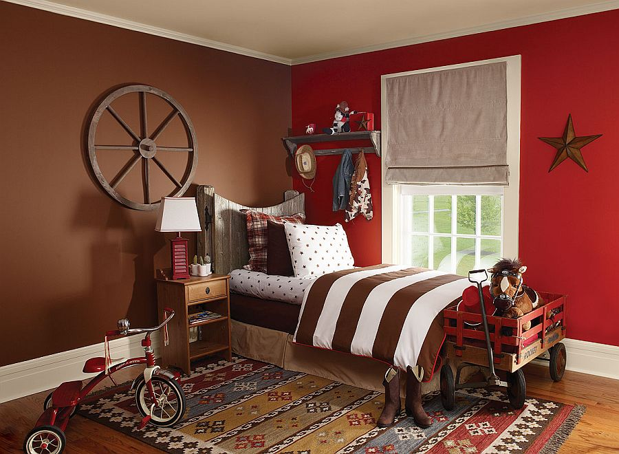 Red works well with almost any color in the kids room when used right [From: Benjamin Moore]