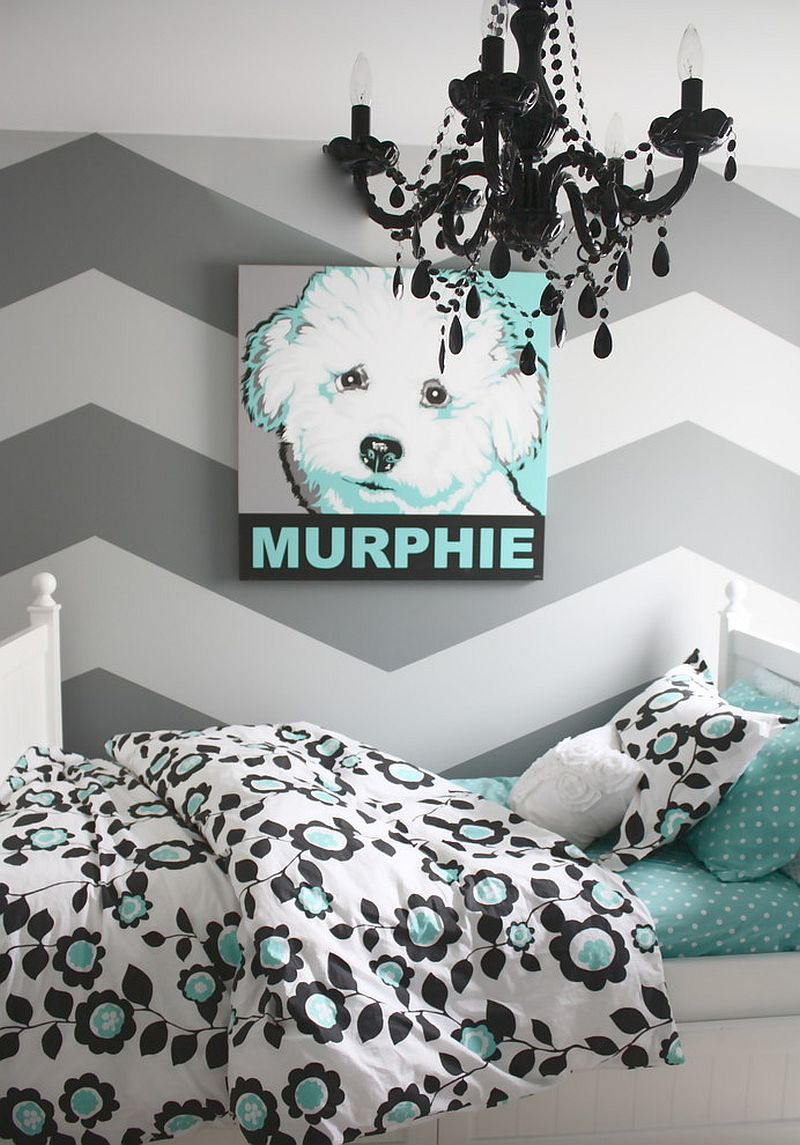 Refined gray and turquoise teen bedroom [From: The Yellow Cape Cod]