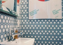 Retro modern bathroom with wallpaper 217x155 Bathroom Color Schemes to Explore This Spring