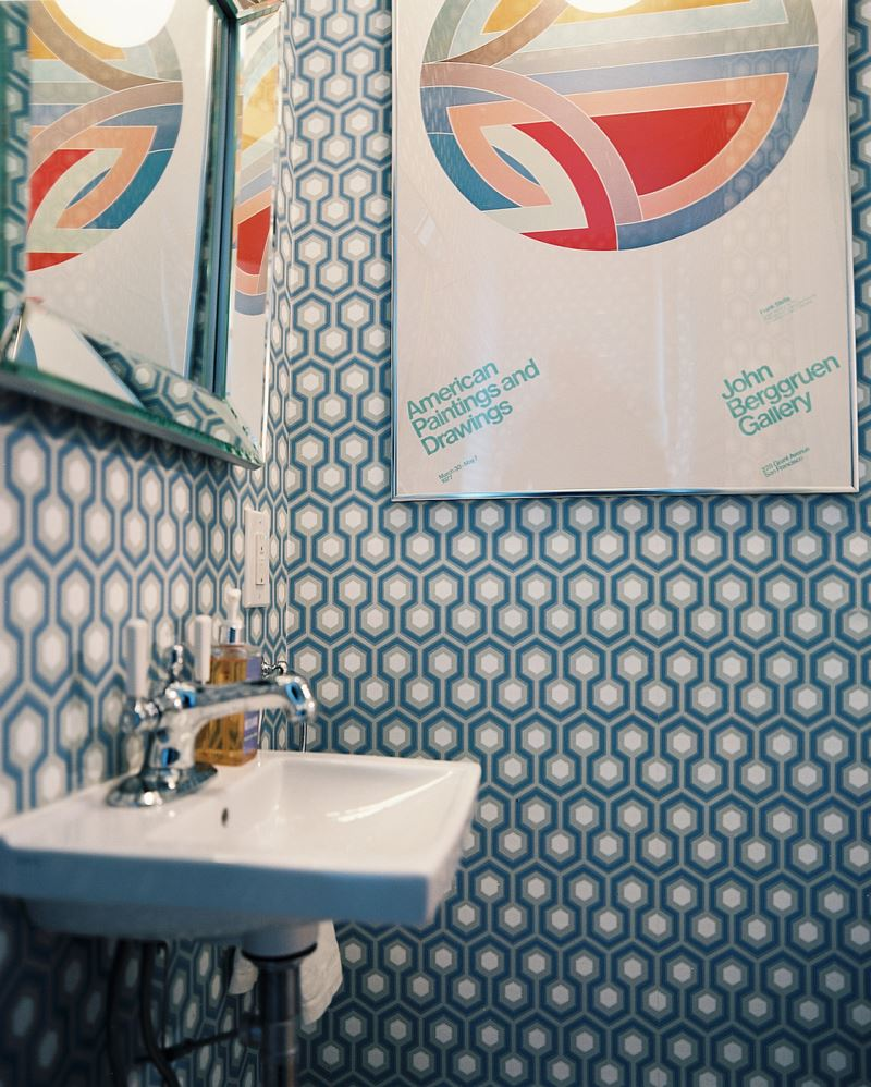 Retro-modern bathroom with wallpaper