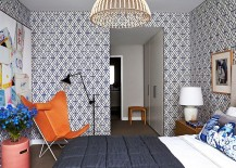 Rosey Posey Trellis Wallpaper steals the show in this contemporary bedroom