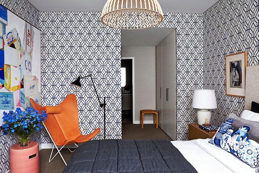 Rosey Posey Trellis Wallpaper steals the show in this contemporary bedroom [From: Arent & Pyke]