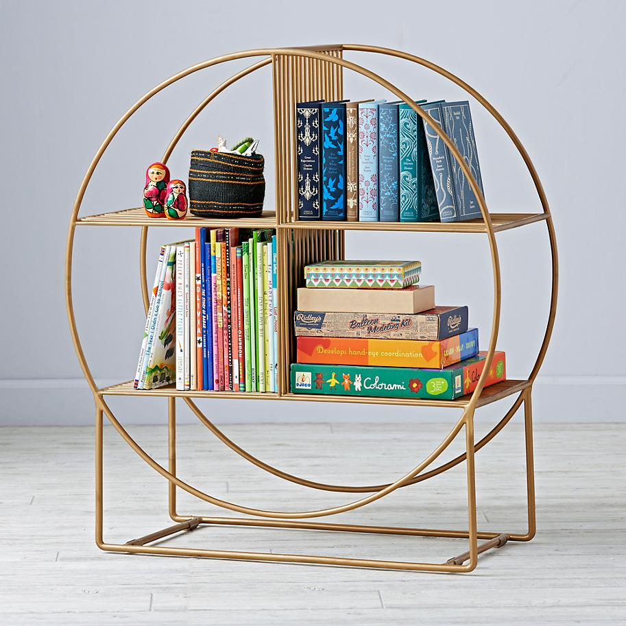 Round metal bookcase from The Land of Nod