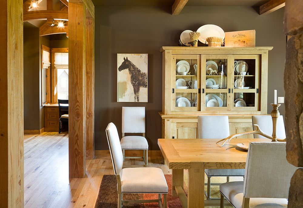 Rustic Dining Room With A Fabulous China Hutch That Complements Its Style Perfectly Design