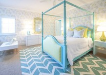 Serene girls' bedroom in turquoise and white with wallpapered walls