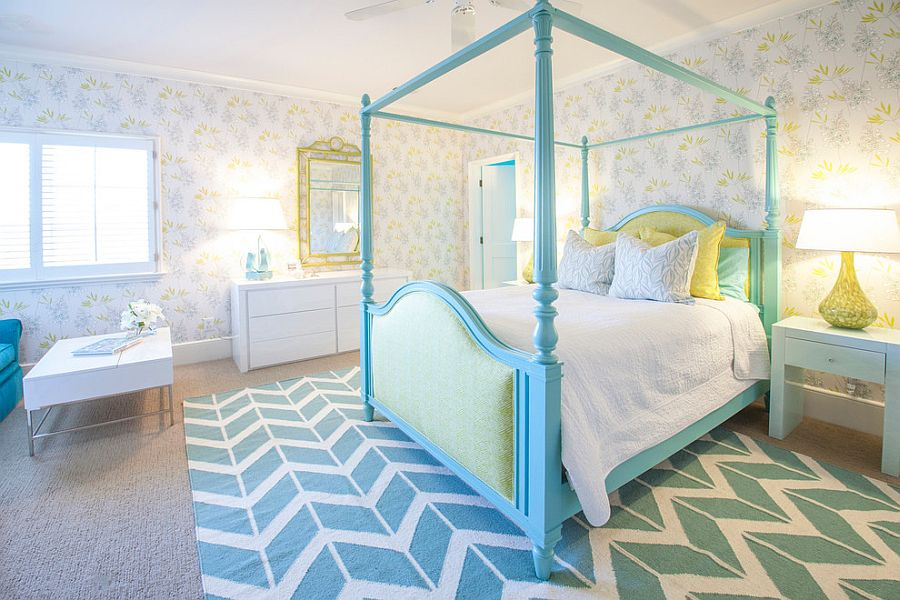 Serene girls' bedroom in turquoise and white with wallpapered walls [Design: Lucy and Company]