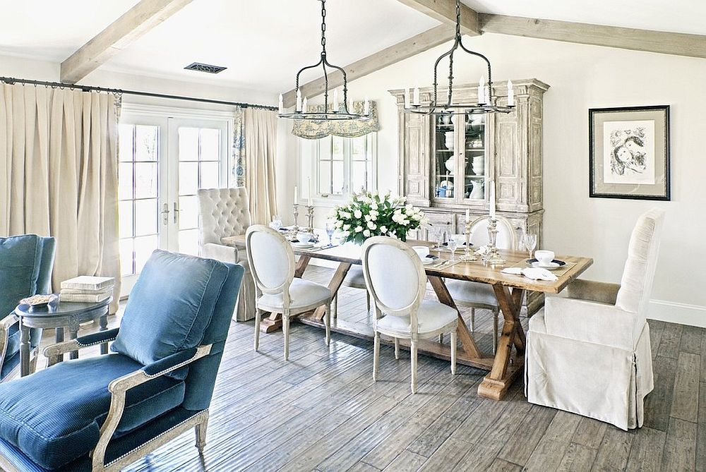 Shabby chic style dining room with whitewashed, vintage hutch [Design: Palm Design Group]