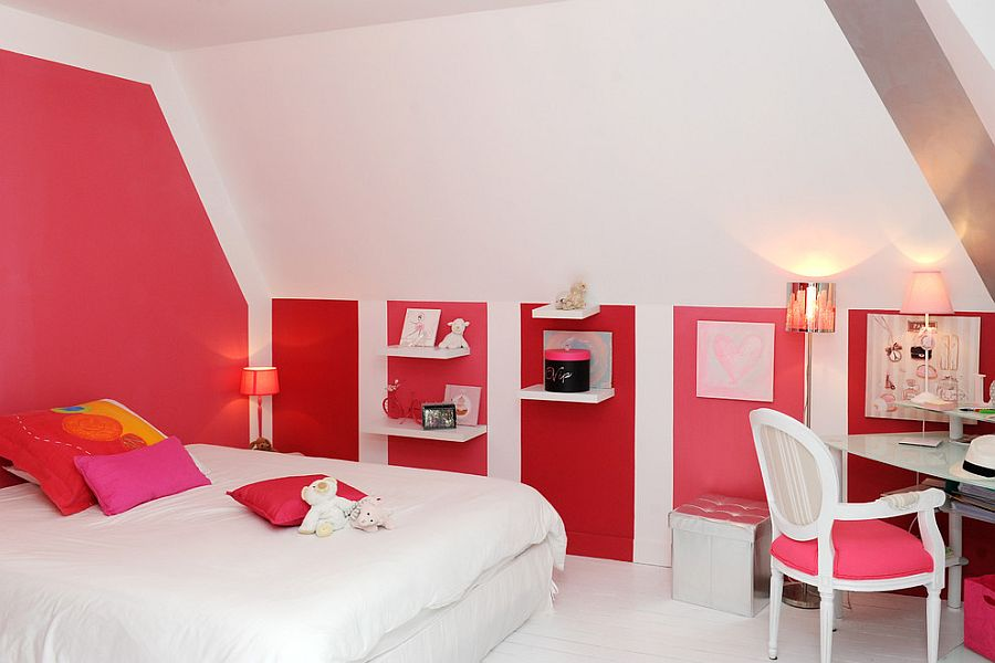 Shades of pink and red enliven contemporary bedroom in white [From: Images Du Jour / Rodolphe Robin]