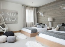 Shades of white and gray dominate the Scandinavian bedroom
