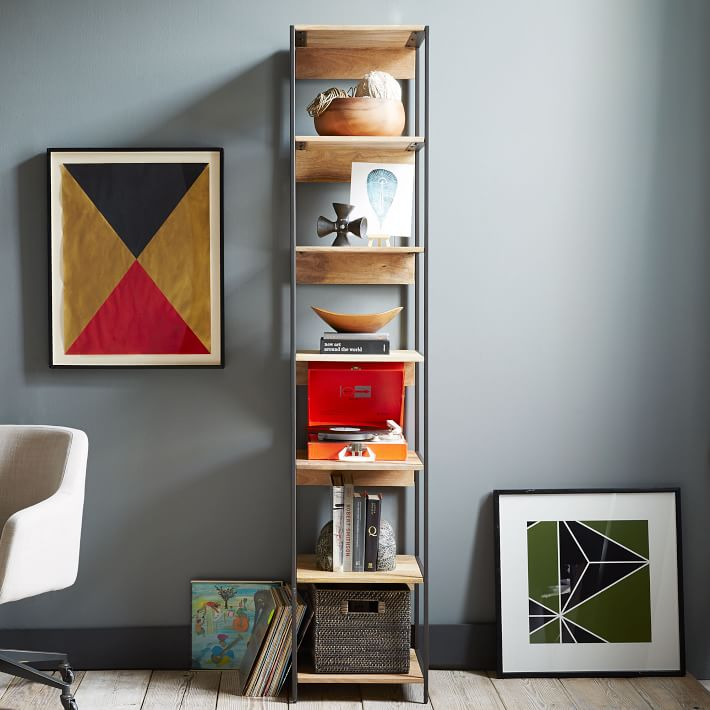 Skinny bookshelf styling
