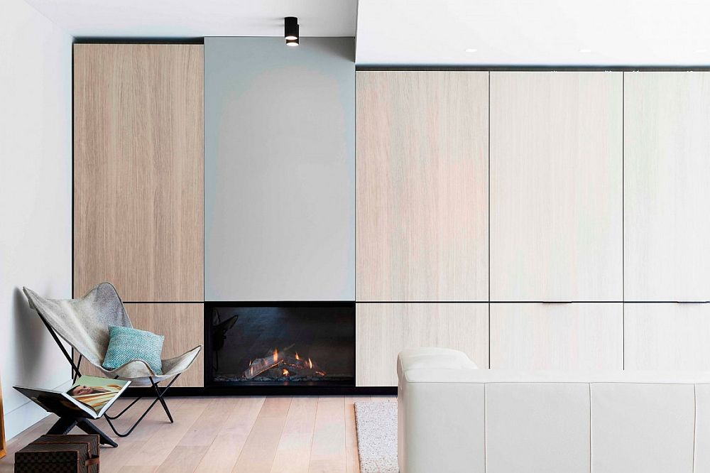 Sleek cabinets with wooden doors and a minimal fireplace give the living space a sophisticated appeal