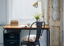 Small home office with distressed door frame