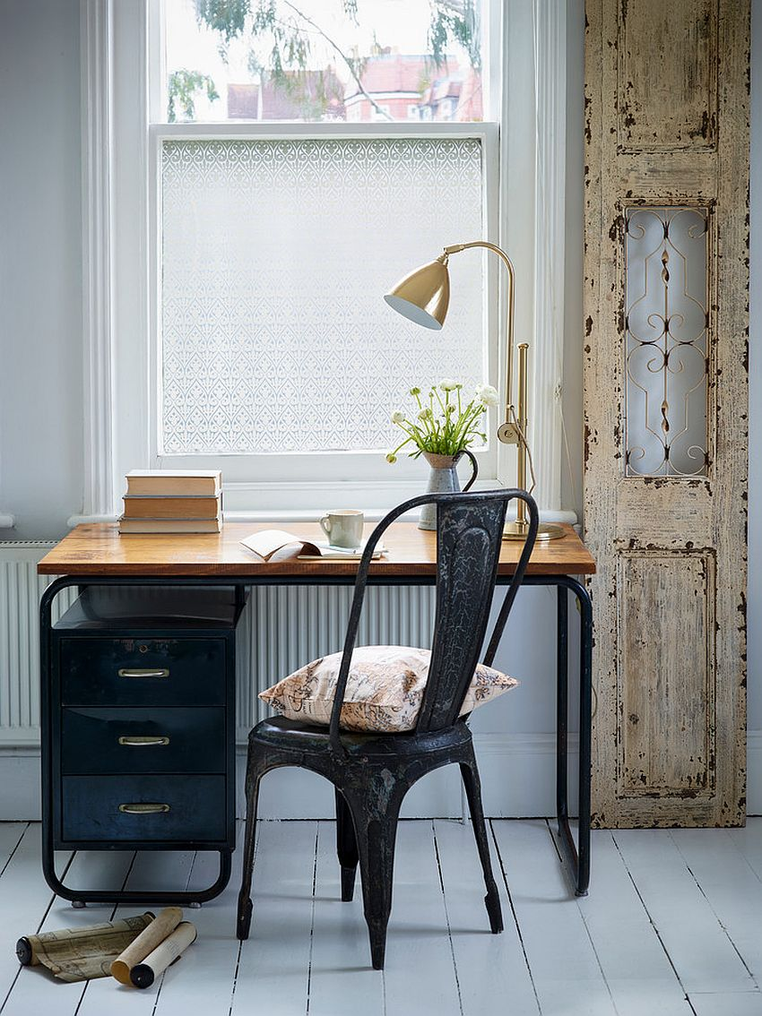 Small home office with distressed door frame [From: The Window Film Company UK]