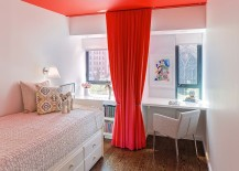 Small kids' room with ceiling and drapes in red