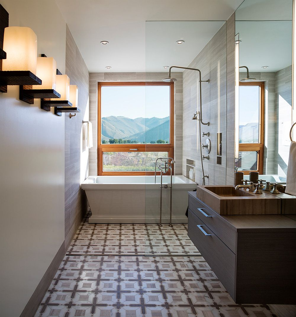 Smart blend of bath and shower in the narrow bathroom [Design: Carney Logan Burke Architects]