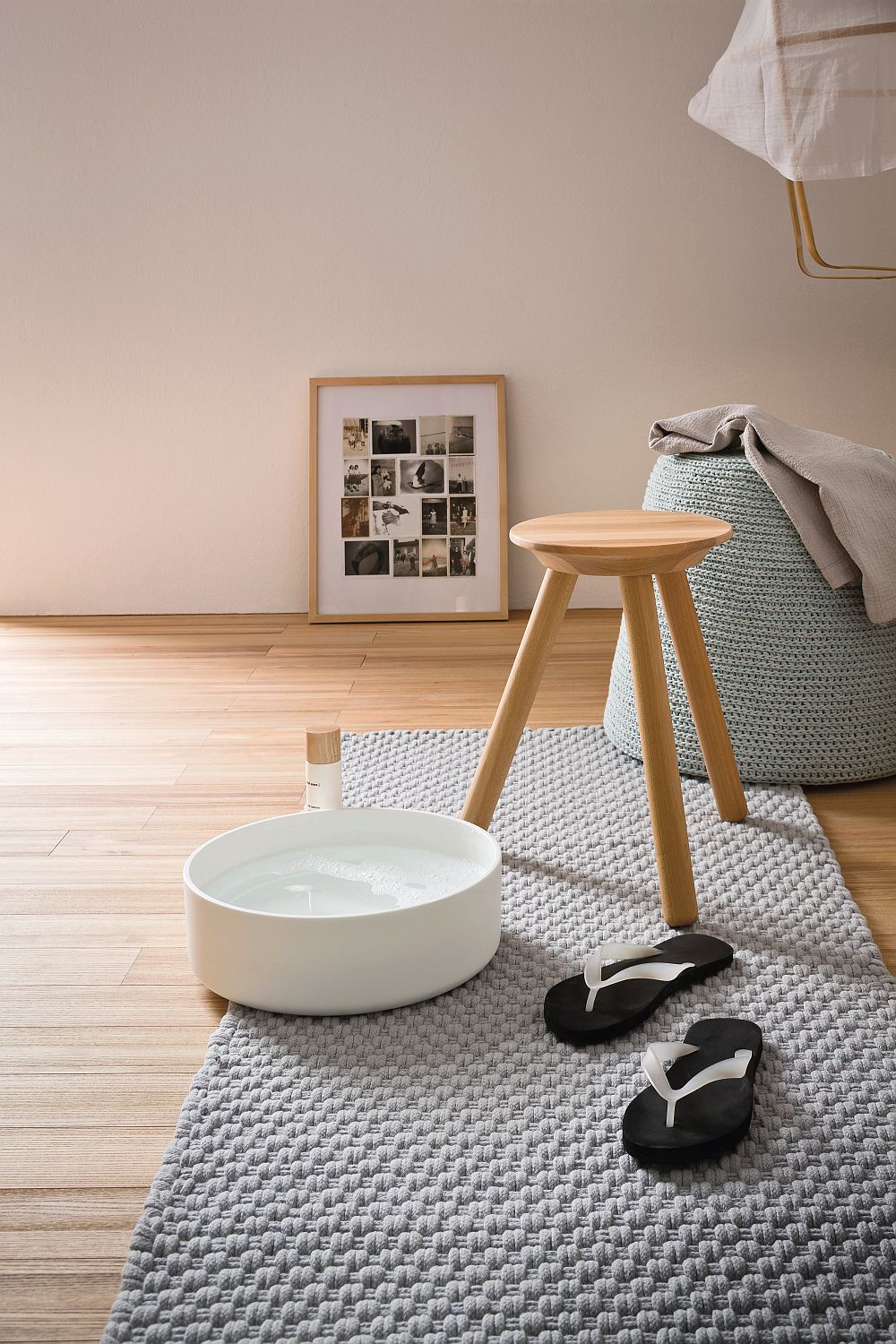 Smart shower stool also helps hold your bath accessories