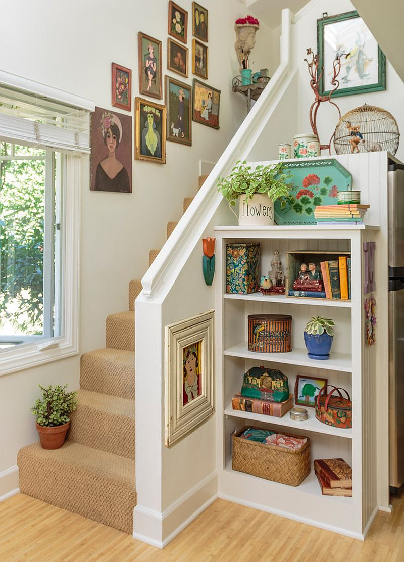 Smart storage unit next to the small staircase [From: Mary Ann Shaklan]