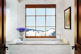 Snow covered peaks greet you at this luxurious trasitional bathroom 270x180 Framed to Perfection: 15 Bathrooms with Majestic Mountain Views