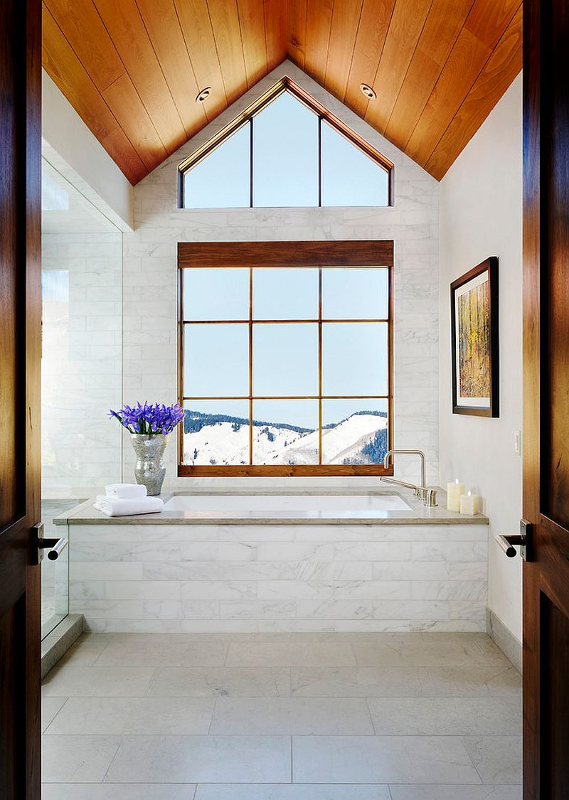 Snow-covered peaks greet you at this luxurious transitional bathroom [Design: Anne Grice Interiors]
