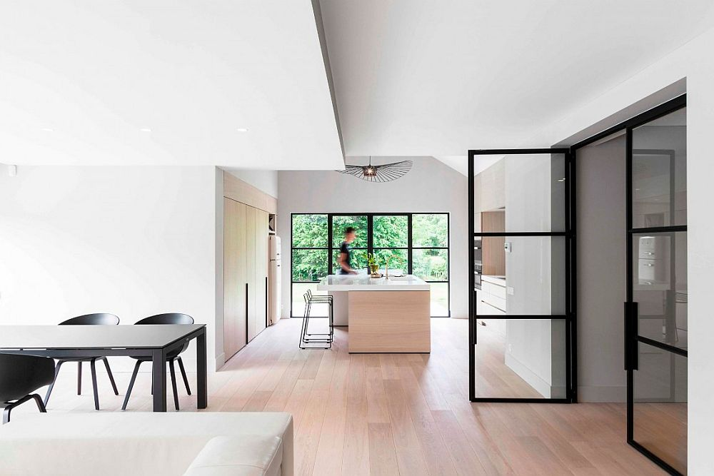 Soft wooden tones add a hint of visual warmth to an otherwise urbane interior
