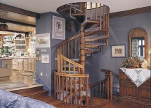 Space around the spiral oak staircase defines its style