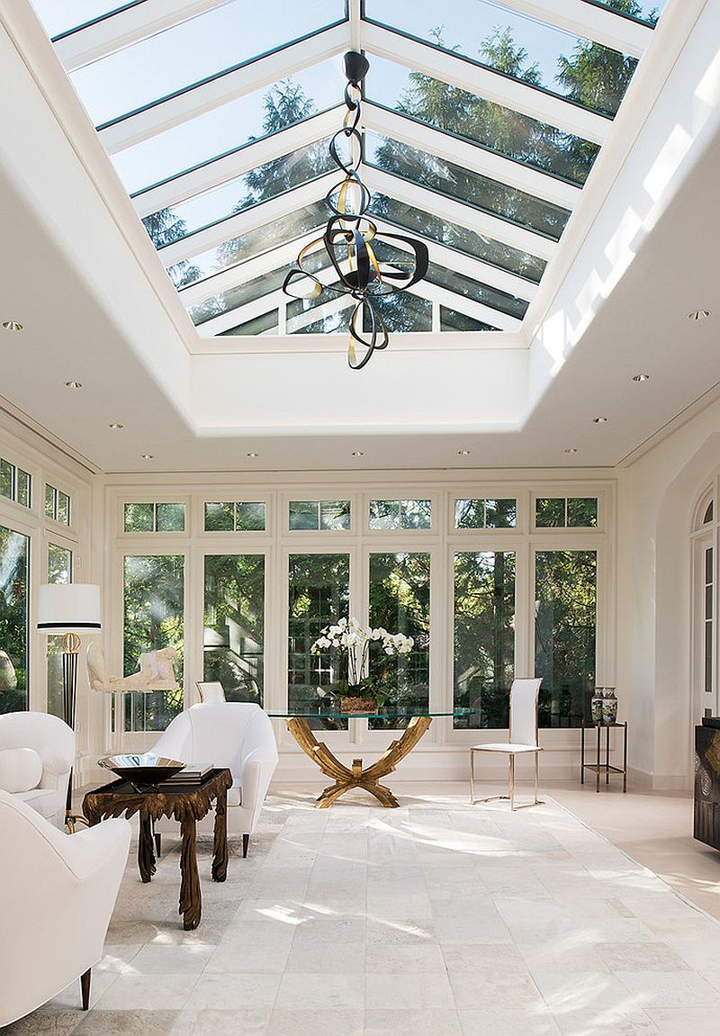 Spacious and comfy sunroom in white