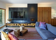 Stacked firewood adds textural contrast to the contemporary interior 217x155 From Showhouse to Showstopper: Inspired Model House in Kansas City