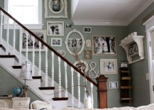 Staircase wall filled with family photos 217x155 11 Fabulous Staircases That Exude Shabby Chic Panache
