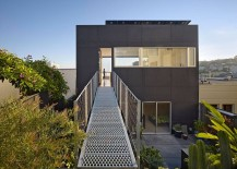 Steel walkway connects the penthouse level with the steep and hilly rear yard 217x155 Wrapped in Black: Budget Friendly Home Renovation in San Francisco