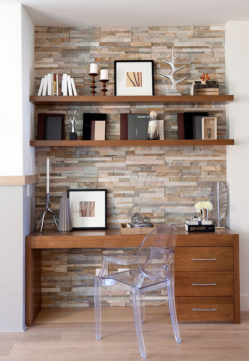 Stone accent wall for the small home workspace [Design: Anna Dhillon Design]