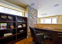 Stone wall architectural feature for the mezzanine level home office
