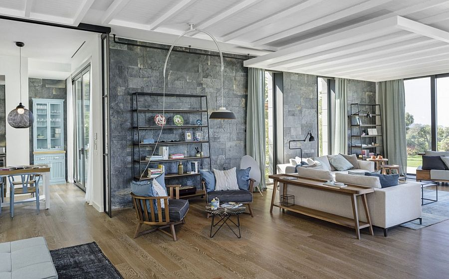Stone walls add textural beauty to the contemporary interior