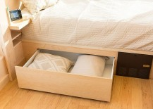 Storage space underneath the bed allow you to tuck away additional pillows and sheets