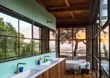 Stunning contemporary bathroom with captivating views of surrounding wine country in Napa Valley 217x155 Framed to Perfection: 15 Bathrooms with Majestic Mountain Views
