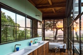 Stunning contemporary bathroom with captivating views of surrounding wine country in Napa Valley 270x180 Framed to Perfection: 15 Bathrooms with Majestic Mountain Views