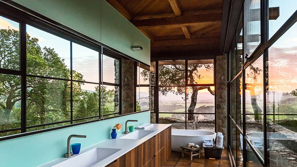 Stunning contemporary bathroom with captivating views of surrounding wine country in Napa Valley [Design: Lundberg Design / Photography: Dale Tan]