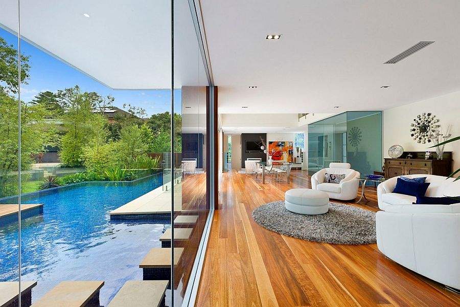 View In Gallery Stunning Living Area Of The Sydney Home Becomes One With  The Pool Outside