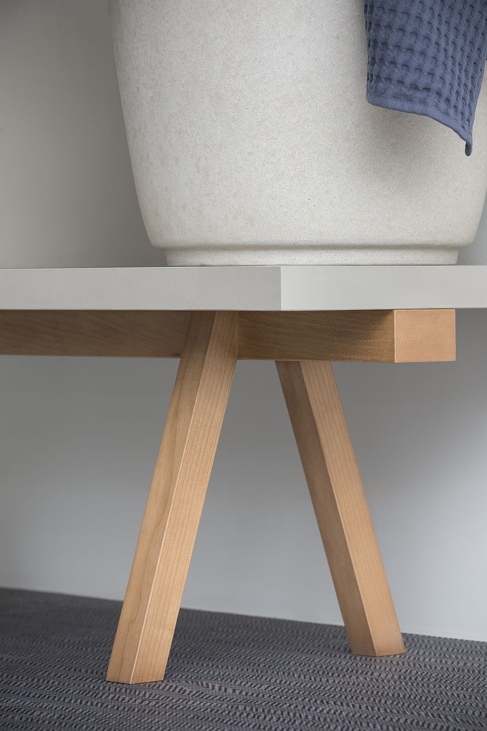 Stylish bathroom wooden bench from Rex Design