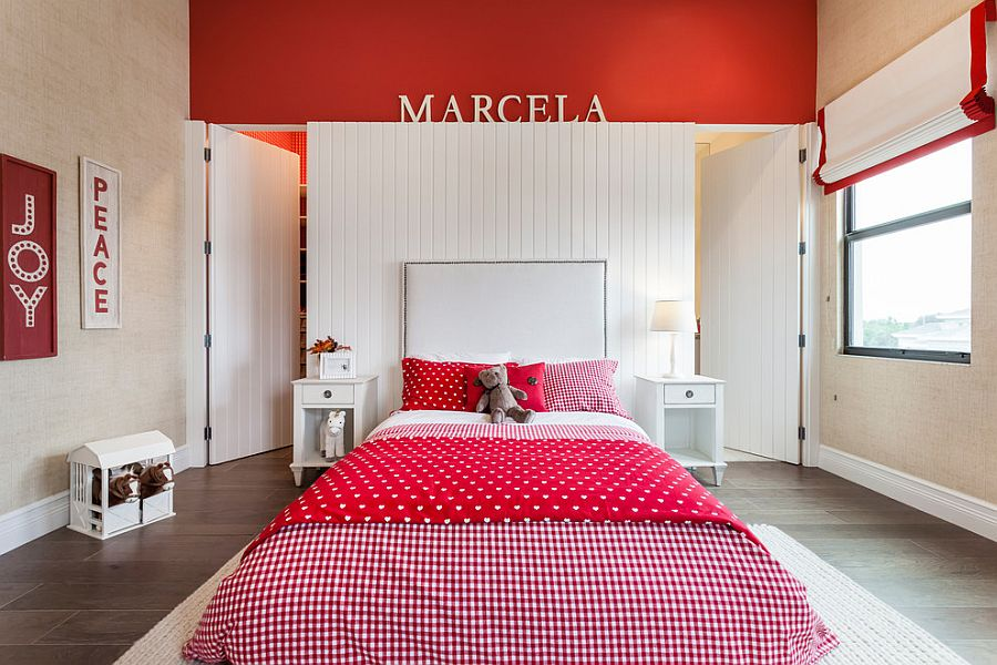 Stylish boys' bedroom with brilliant use of red as an accent hue [Design: Phabrica – Miami]