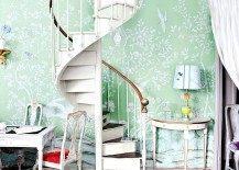 Stylish spiral staircase leading to a chic home office