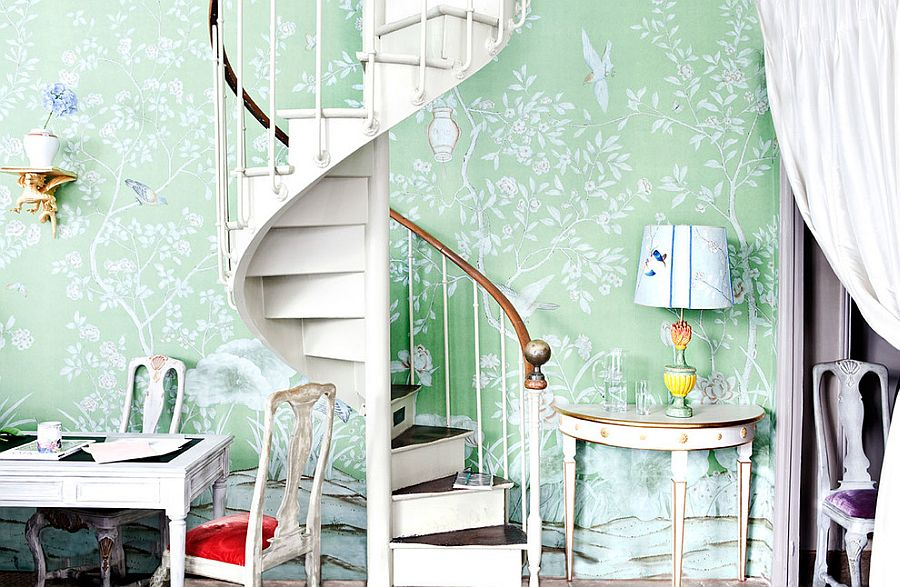 Stylish spiral staircase leading to a chic home office [From: Mirotex]