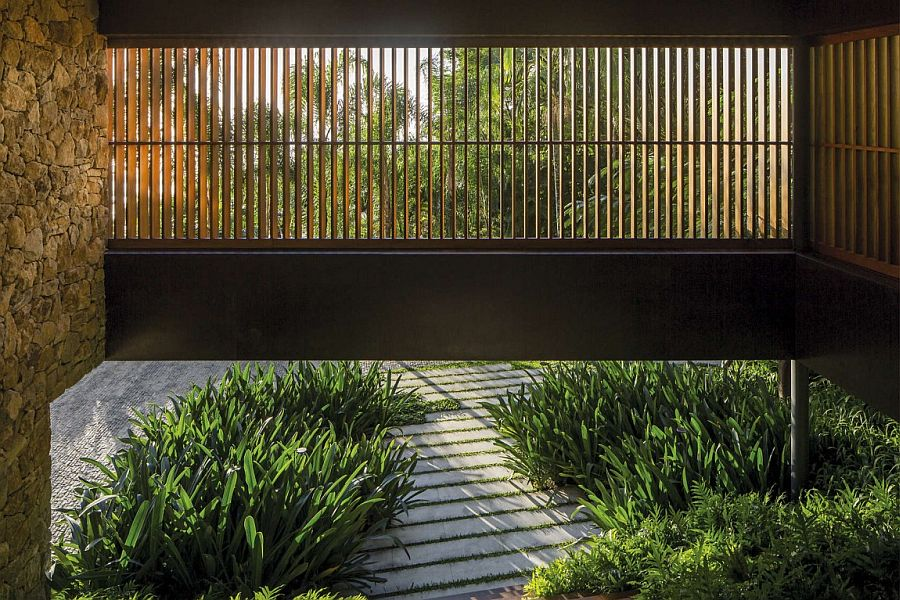 Sunscreen panels create a perfect blend of natural ventilation and privacy
