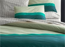 Teal striped bedding from CB2 217x155 20 Refreshing Modern Bedroom Design Ideas