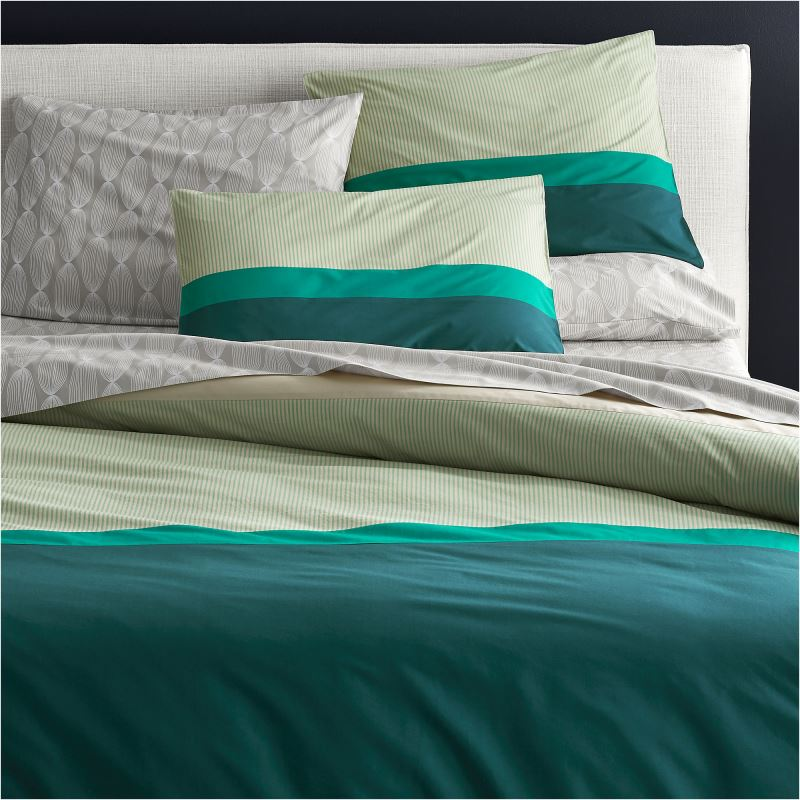 Teal striped bedding from CB2