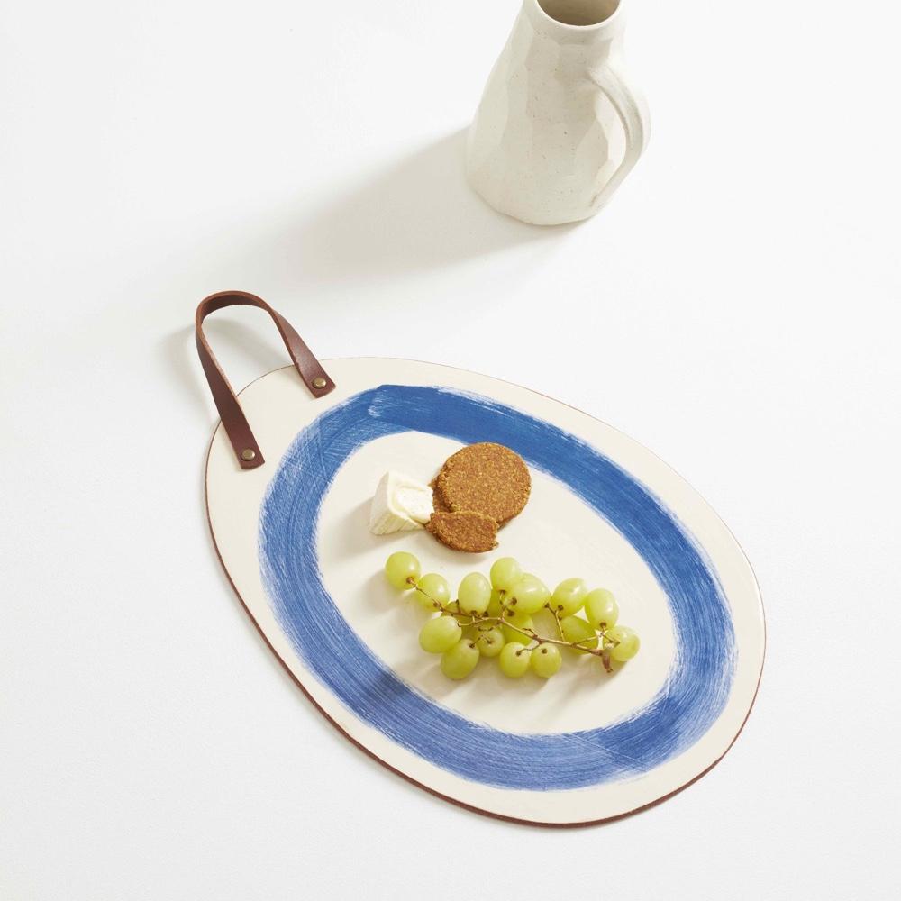 Terracotta crank food board blue